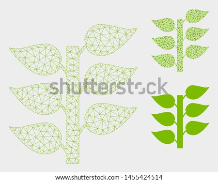 Mesh flora plant model with triangle mosaic icon. Wire frame triangular mesh of flora plant. Vector composition of triangle parts in various sizes, and color tones. Abstract 2d mesh flora plant,