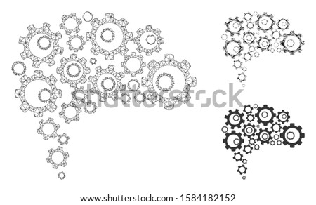 Mesh gear brain model with triangle mosaic icon. Wire frame triangular mesh of gear brain. Vector collage of triangle parts in variable sizes, and color tints. Abstract 2d mesh gear brain,