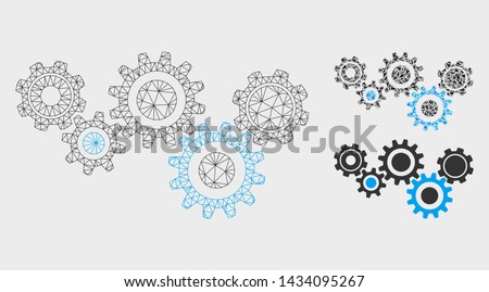 Mesh gear mechanism model with triangle mosaic icon. Wire frame polygonal mesh of gear mechanism. Vector mosaic of triangle parts in variable sizes, and color tones. Abstract 2d mesh gear mechanism,