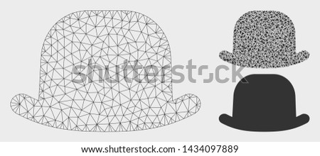 Mesh gentleman hat model with triangle mosaic icon. Wire carcass polygonal mesh of gentleman hat. Vector mosaic of triangle parts in various sizes, and color tints. Abstract 2d mesh gentleman hat,