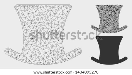 Mesh gentleman hat model with triangle mosaic icon. Wire frame polygonal mesh of gentleman hat. Vector mosaic of triangle elements in variable sizes, and color tints. Abstract 2d mesh gentleman hat,