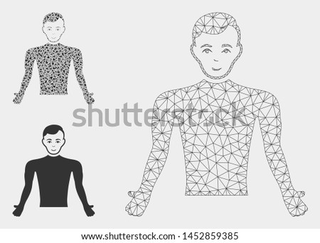 Mesh guy body model with triangle mosaic icon. Wire frame triangular mesh of guy body. Vector mosaic of triangle parts in various sizes, and color hues. Abstract flat mesh guy body,