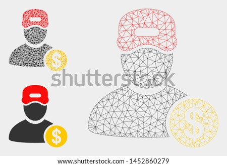 Mesh guy salary model with triangle mosaic icon. Wire carcass triangular mesh of guy salary. Vector composition of triangle parts in variable sizes, and color tinges. Abstract flat mesh guy salary,