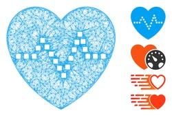 Mesh heart pulse web icon vector illustration. Model is based on heart pulse flat icon. Mesh forms abstract heart pulse flat model. Wire frame 2D web network isolated on a white background.