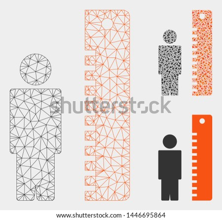 Mesh height meter model with triangle mosaic icon. Wire carcass triangular mesh of height meter. Vector mosaic of triangle parts in various sizes, and color tinges. Abstract 2d mesh height meter,