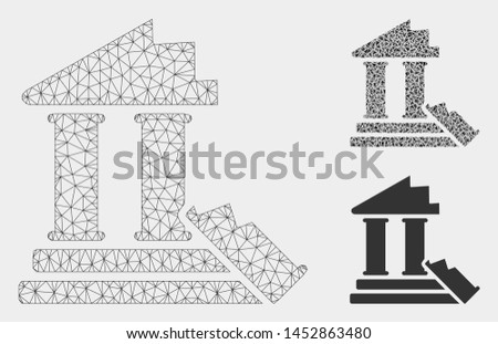 Mesh historic ruins model with triangle mosaic icon. Wire frame triangular mesh of historic ruins. Vector mosaic of triangle parts in variable sizes, and color shades. Abstract 2d mesh historic ruins,