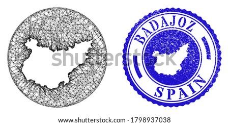 Mesh hole round Badajoz Province map and scratched stamp. Badajoz Province map is a hole in a round stamp seal. Web carcass vector Badajoz Province map in a circle. Blue round scratched seal stamp.