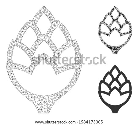 Mesh hop bud model with triangle mosaic icon. Wire frame triangular mesh of hop bud. Vector mosaic of triangle parts in various sizes, and color shades. Abstract flat mesh hop bud,