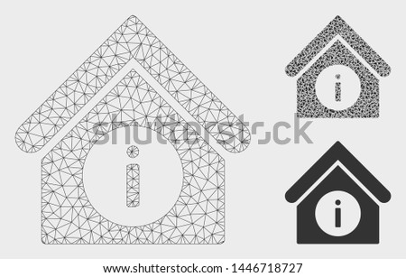 Mesh info building model with triangle mosaic icon. Wire frame triangular mesh of info building. Vector collage of triangle parts in various sizes, and color hues. Abstract 2d mesh info building,
