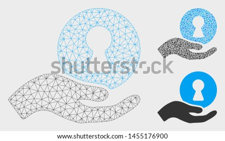 Mesh insider hand model with triangle mosaic icon. Wire carcass polygonal network of insider hand. Vector mosaic of triangle parts in variable sizes, and color tints. Abstract flat mesh insider hand,
