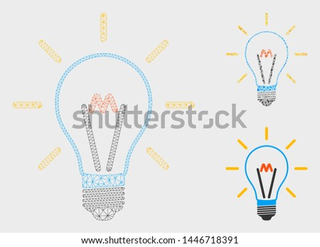 Mesh invent bulb model with triangle mosaic icon. Wire carcass polygonal network of invent bulb. Vector mosaic of triangle parts in variable sizes, and color tinges. Abstract 2d mesh invent bulb,