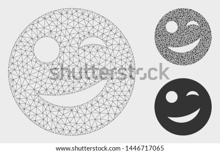 Mesh joy smiley model with triangle mosaic icon. Wire frame triangular mesh of joy smiley. Vector collage of triangle parts in various sizes, and color tints. Abstract flat mesh joy smiley,