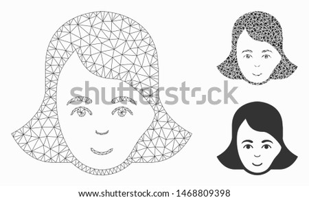 Mesh lady face model with triangle mosaic icon. Wire carcass triangular mesh of lady face. Vector mosaic of triangle parts in various sizes, and color tinges. Abstract 2d mesh lady face,