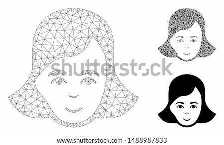 Mesh lady face model with triangle mosaic icon. Wire frame polygonal mesh of lady face. Vector mosaic of triangle parts in different sizes, and color tinges. Abstract 2d mesh lady face,