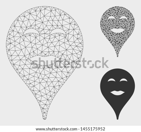 Mesh lady pleasure smiley map marker model with triangle mosaic icon. Wire carcass polygonal mesh of lady pleasure smiley map marker. Vector mosaic of triangles in different sizes, and color tones.
