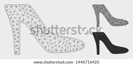 Mesh lady shoe model with triangle mosaic icon. Wire carcass triangular mesh of lady shoe. Vector mosaic of triangle elements in different sizes, and color tints. Abstract 2d mesh lady shoe,