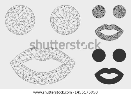 Mesh lady smiley model with triangle mosaic icon. Wire carcass polygonal mesh of lady smiley. Vector mosaic of triangle parts in variable sizes, and color tinges. Abstract flat mesh lady smiley,