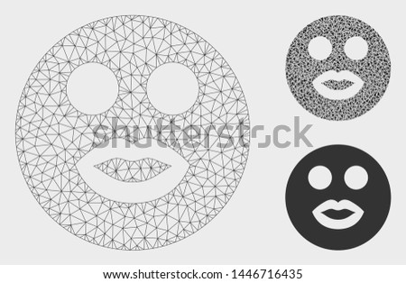 Mesh lady smiley model with triangle mosaic icon. Wire frame triangular mesh of lady smiley. Vector collage of triangle parts in variable sizes, and color shades. Abstract flat mesh lady smiley,