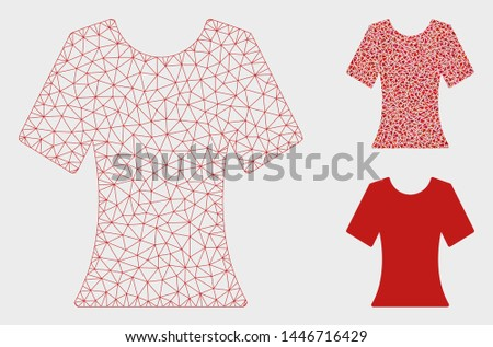 Mesh lady T-shirt model with triangle mosaic icon. Wire carcass polygonal mesh of lady T-shirt. Vector composition of triangle parts in different sizes, and color tints. Abstract 2d mesh lady T-shirt,