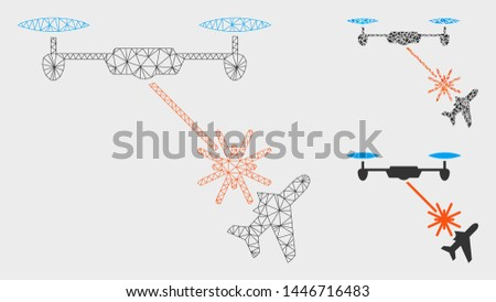 Mesh laser drone attacks airplane model with triangle mosaic icon. Wire frame triangular mesh of laser drone attacks airplane. Vector composition of triangle parts in various sizes, and color tints.