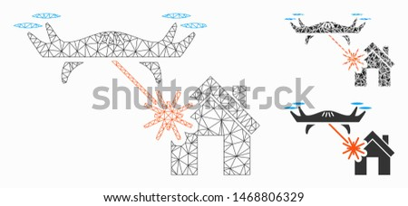 Mesh laser drone attacks house model with triangle mosaic icon. Wire carcass triangular mesh of laser drone attacks house. Vector mosaic of triangle elements in variable sizes, and color tones.