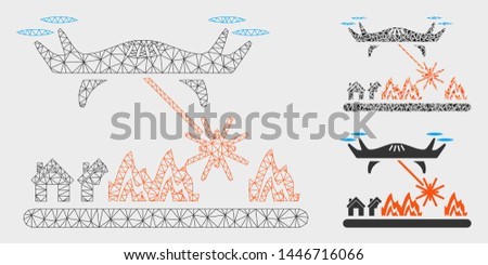 Mesh laser drone attacks village model with triangle mosaic icon. Wire frame polygonal mesh of laser drone attacks village. Vector collage of triangle elements in various sizes, and color hues.