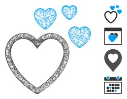 Mesh love hearts web 2d vector illustration. Carcass model is based on love hearts flat icon. Network forms abstract love hearts flat model. wireframe 2D web network isolated on a white background.