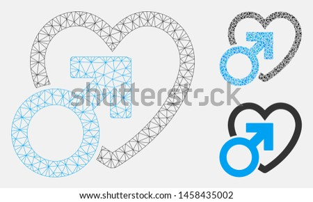 Mesh male love model with triangle mosaic icon. Wire carcass polygonal mesh of male love. Vector mosaic of triangle parts in various sizes, and color tones. Abstract 2d mesh male love,