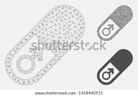 Mesh male power pill model with triangle mosaic icon. Wire carcass triangular mesh of male power pill. Vector mosaic of triangles in variable sizes, and color hues. Abstract 2d mesh male power pill,