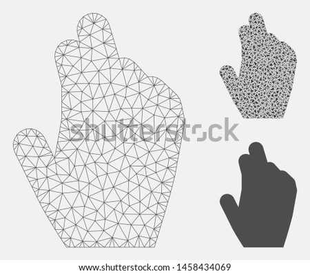Mesh manage hand model with triangle mosaic icon. Wire frame triangular mesh of manage hand. Vector collage of triangle elements in different sizes, and color tones. Abstract 2d mesh manage hand,