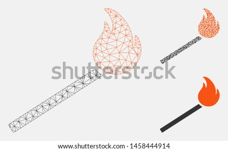Mesh match fire model with triangle mosaic icon. Wire carcass triangular mesh of match fire. Vector collage of triangle elements in various sizes, and color tones. Abstract flat mesh match fire,