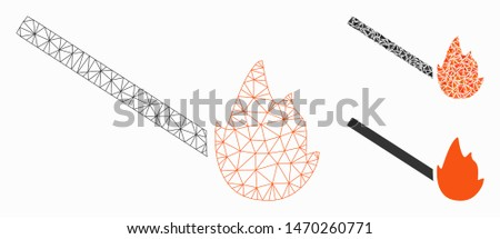Mesh match flame model with triangle mosaic icon. Wire frame polygonal mesh of match flame. Vector composition of triangle parts in various sizes, and color tinges. Abstract 2d mesh match flame,