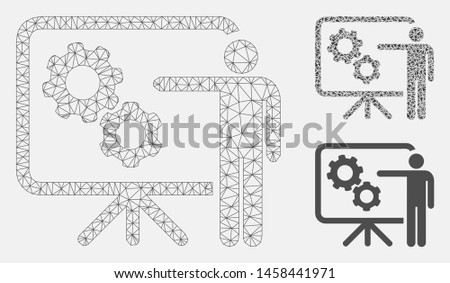 Mesh mechanical gears project board model with triangle mosaic icon. Wire frame polygonal mesh of mechanical gears project board. Vector mosaic of triangle parts in various sizes, and color tinges.
