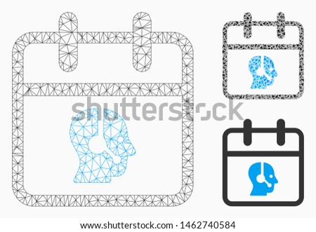 Mesh operator day model with triangle mosaic icon. Wire carcass polygonal mesh of operator day. Vector collage of triangle parts in variable sizes, and color hues. Abstract flat mesh operator day,