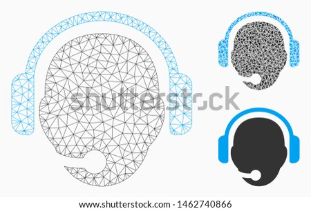 Mesh operator head model with triangle mosaic icon. Wire frame triangular mesh of operator head. Vector mosaic of triangle parts in variable sizes, and color hues. Abstract 2d mesh operator head,
