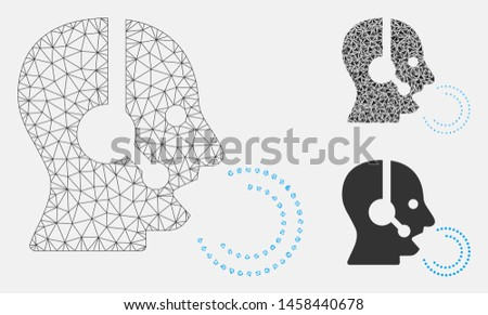 Mesh operator speech model with triangle mosaic icon. Wire carcass polygonal mesh of operator speech. Vector mosaic of triangles in different sizes, and color hues. Abstract flat mesh operator speech,