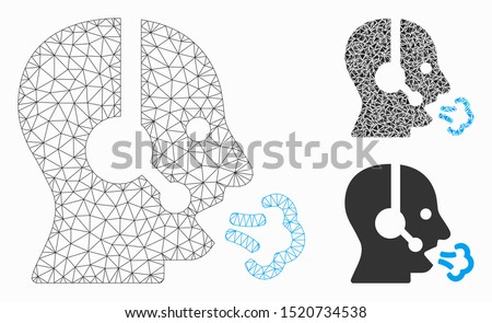 Mesh operator speech model with triangle mosaic icon. Wire carcass polygonal mesh of operator speech. Vector mosaic of triangles in different sizes, and color tones. Abstract 2d mesh operator speech,