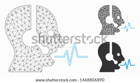Mesh operator speech model with triangle mosaic icon. Wire frame triangular mesh of operator speech. Vector mosaic of triangles in variable sizes, and color tones. Abstract flat mesh operator speech,