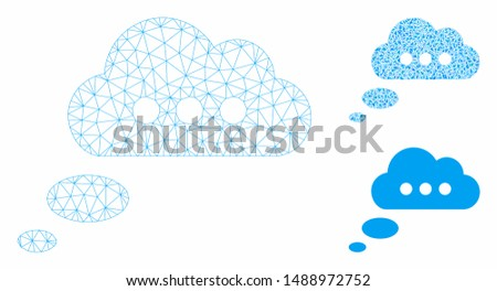 Mesh opinion cloud model with triangle mosaic icon. Wire carcass triangular mesh of opinion cloud. Vector mosaic of triangle parts in variable sizes, and color shades. Abstract 2d mesh opinion cloud,