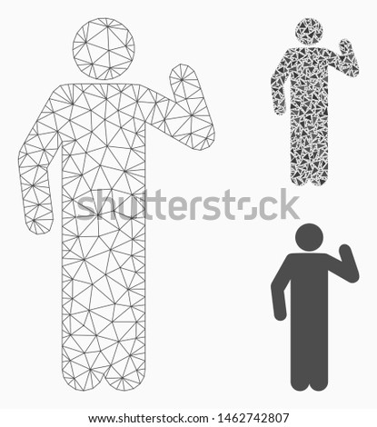 Mesh opinion pose model with triangle mosaic icon. Wire frame triangular mesh of opinion pose. Vector mosaic of triangle parts in different sizes, and color tints. Abstract 2d mesh opinion pose,