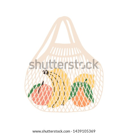 Mesh or net bag full of fruits isolated on white background. Modern shopper with fresh organic bananas, peaches, oranges and lemons from local market. Vector illustration in flat cartoon style.