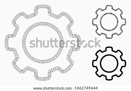 Mesh outline gear model with triangle mosaic icon. Wire frame triangular mesh of outline gear. Vector mosaic of triangles in different sizes, and color tints. Abstract flat mesh outline gear,