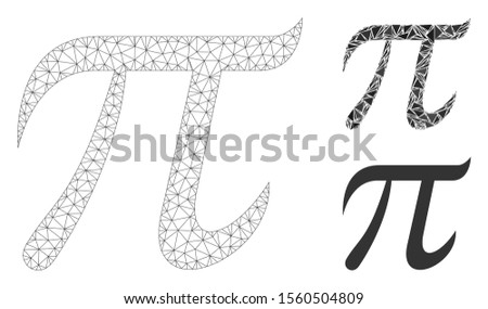 Mesh pi symbol model with triangle mosaic icon. Wire frame polygonal mesh of pi symbol. Vector collage of triangle parts in variable sizes, and color tinges. Abstract 2d mesh pi symbol,