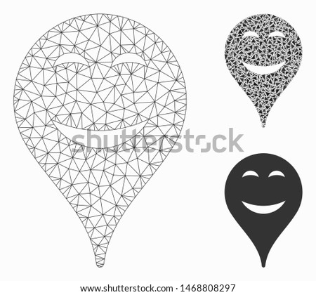 Mesh pleasure smiley map marker model with triangle mosaic icon. Wire carcass triangular mesh of pleasure smiley map marker. Vector composition of triangles in different sizes, and color hues.