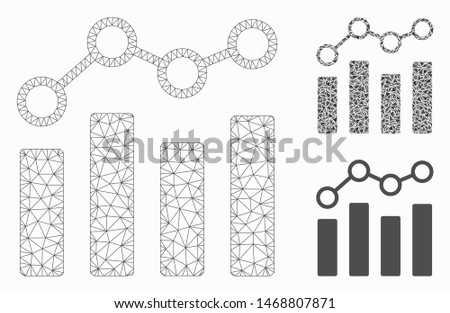 Mesh point chart model with triangle mosaic icon. Wire frame polygonal mesh of point chart. Vector composition of triangle parts in variable sizes, and color tinges. Abstract flat mesh point chart,