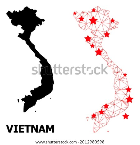 Mesh polygonal and solid map of Vietnam. Vector structure is created from map of Vietnam with red stars. Abstract lines and stars form map of Vietnam.