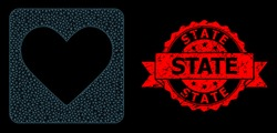 Mesh polygonal love heart on a black background, and State rubber ribbon seal imitation. Red seal has State caption inside ribbon. Vector constellation created from love heart icon with mesh.