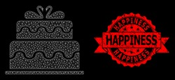 Mesh polygonal marriage cake on a black background, and Happiness grunge ribbon stamp seal. Red stamp seal includes Happiness title inside ribbon.