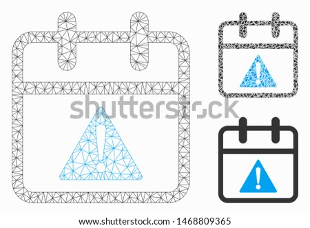 Mesh problem day model with triangle mosaic icon. Wire carcass polygonal mesh of problem day. Vector mosaic of triangle elements in different sizes, and color tints. Abstract 2d mesh problem day,