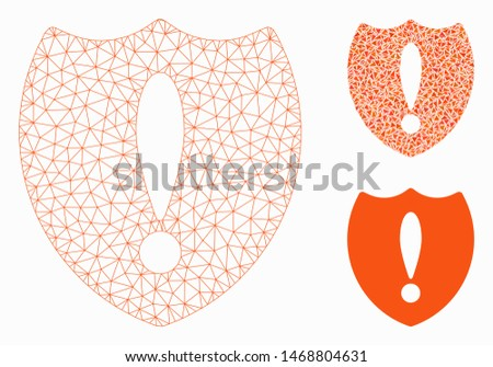 Mesh problem shield model with triangle mosaic icon. Wire frame polygonal mesh of problem shield. Vector mosaic of triangle parts in different sizes, and color tones. Abstract 2d mesh problem shield,